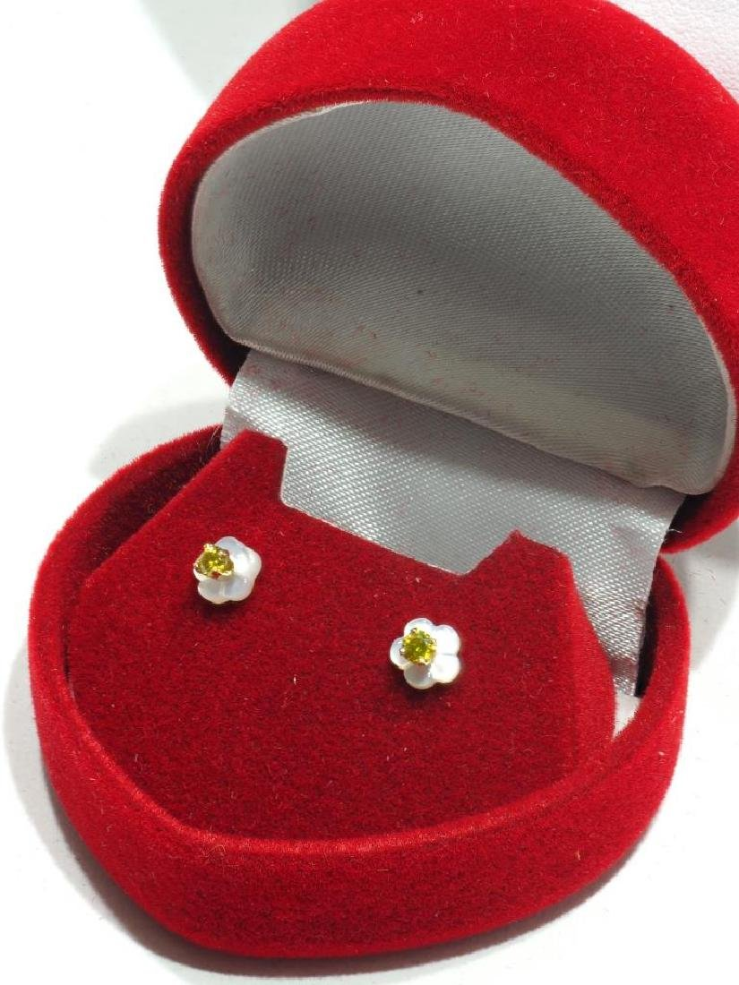14kt Gold Diamond with Mother of Pearl Jacket - 2
