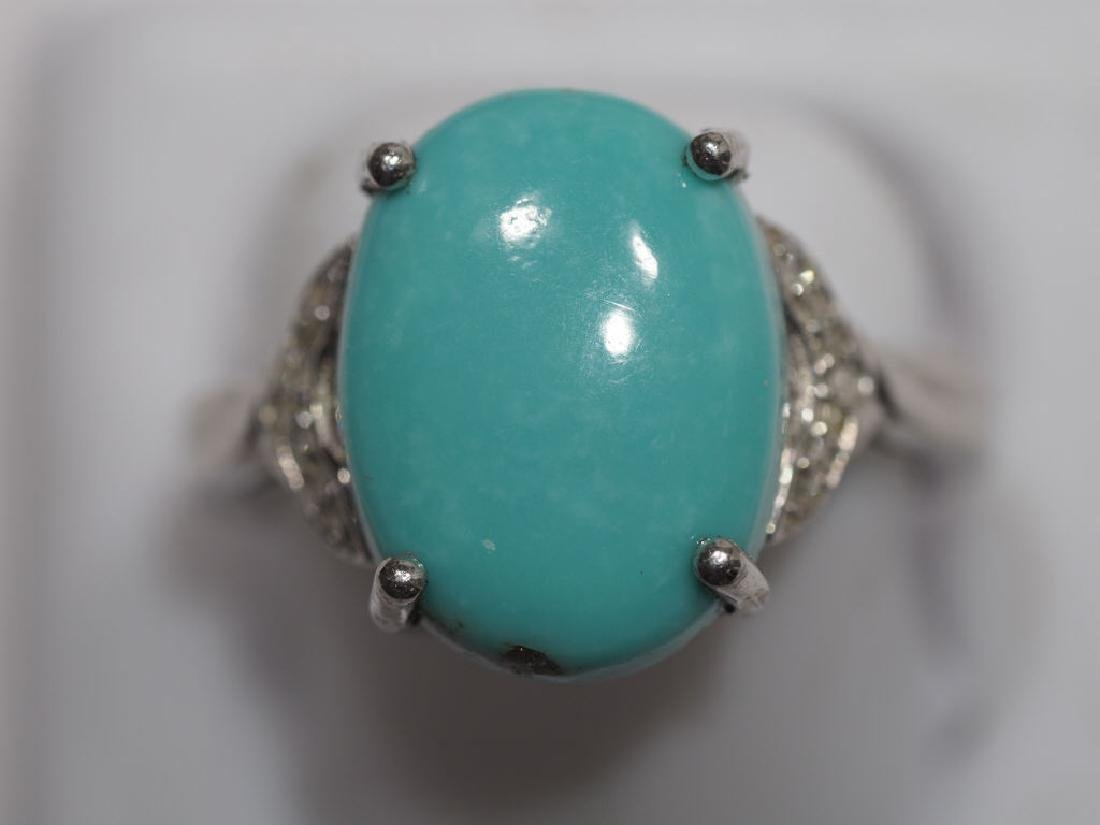 Sterling Silver, Turquoise & 14 Diamonds ring