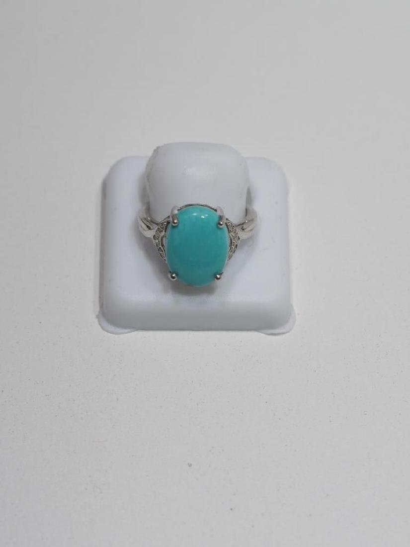 Sterling Silver, Turquoise & 14 Diamonds ring - 3