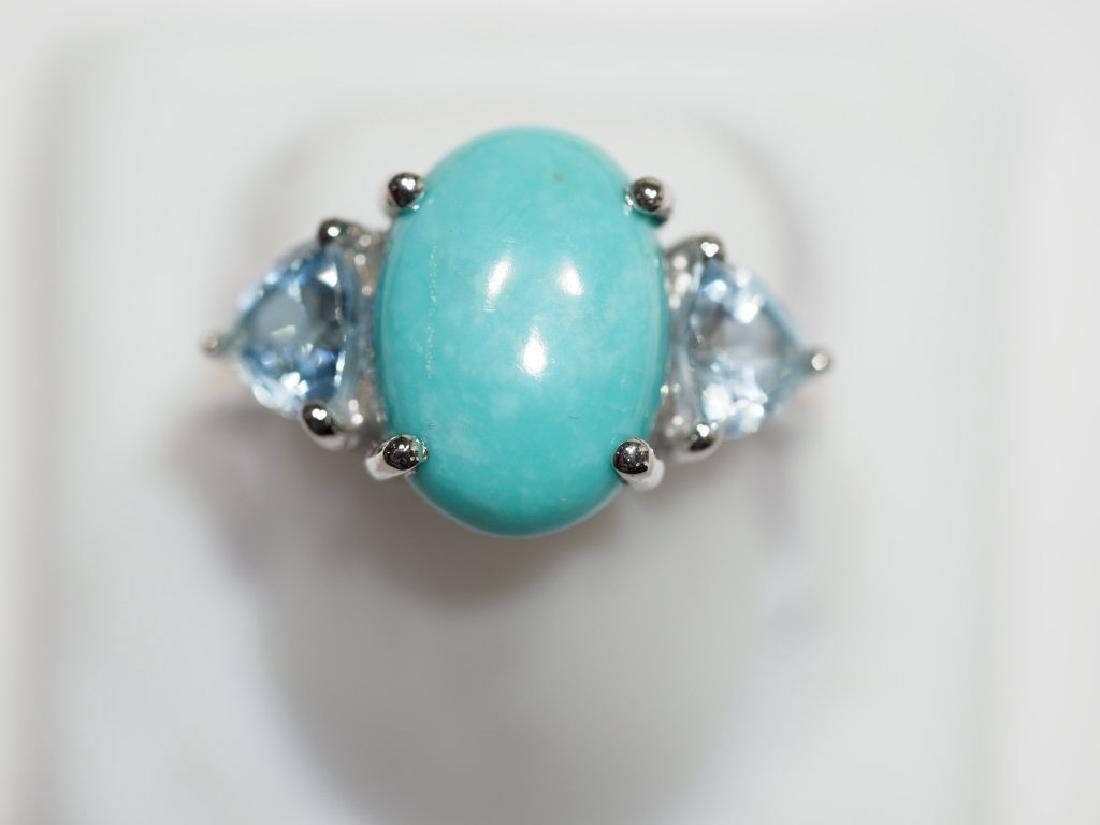 S.S. Turquoise & 2 Trillion Cut Blue Topaz Ring