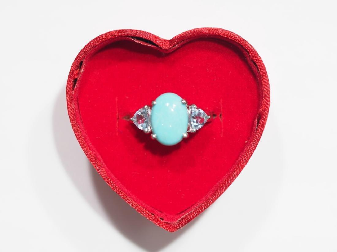 S.S. Turquoise & 2 Trillion Cut Blue Topaz Ring - 2