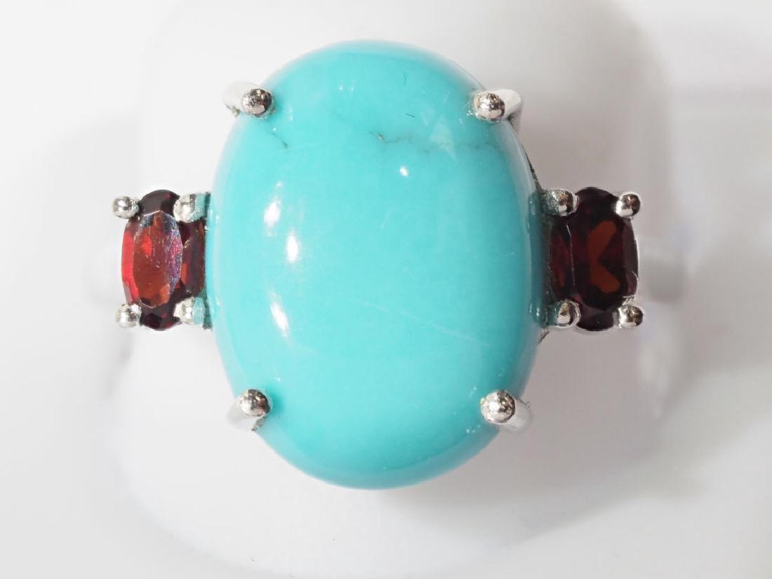 Sterling Silver Arizona Turquoise Garnet Ring