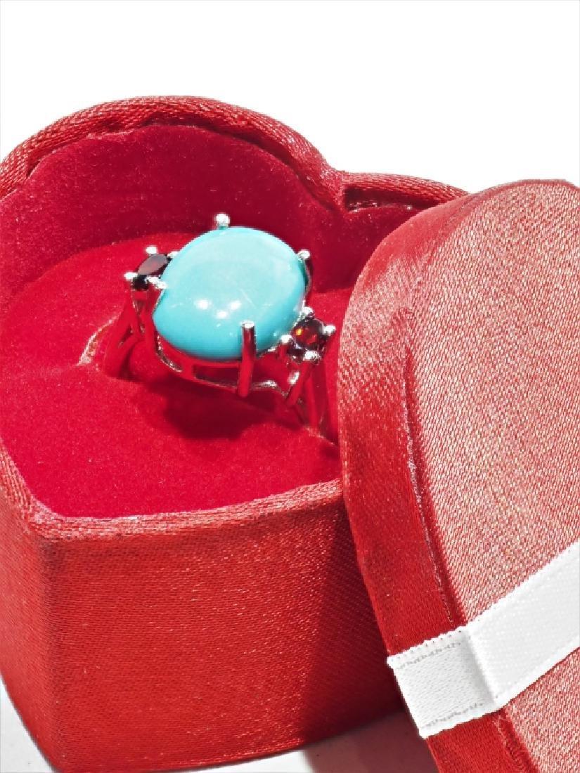 Sterling Silver Arizona Turquoise Garnet Ring - 2