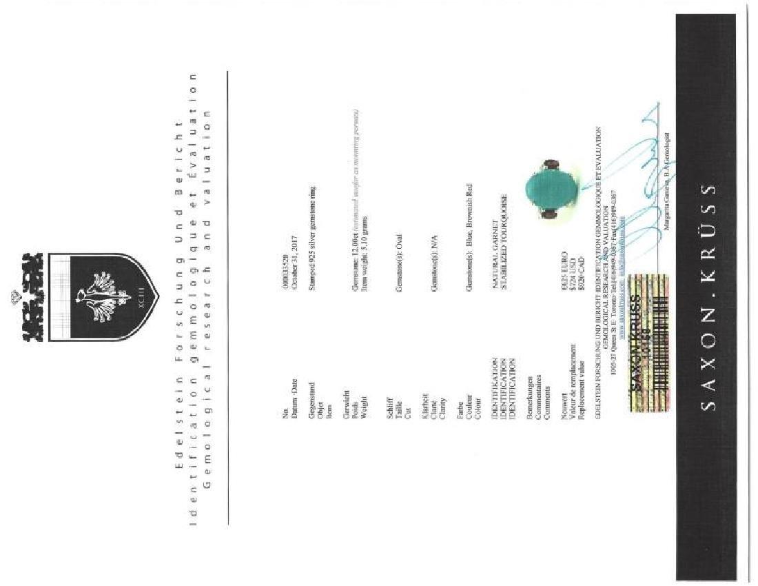 Sterling Silver Arizona Turquoise Garnet Ring - 3