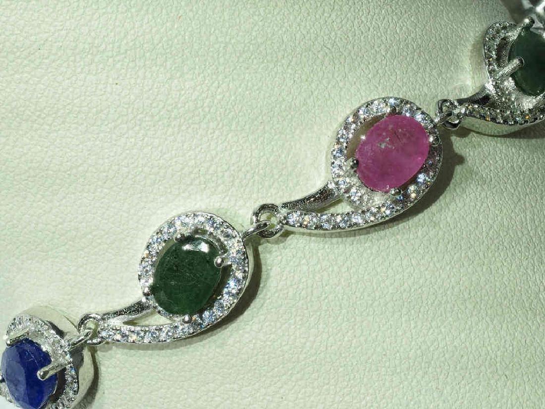 S.S. Genuine Ruby Sapphire Emerald & CZ Bracelet