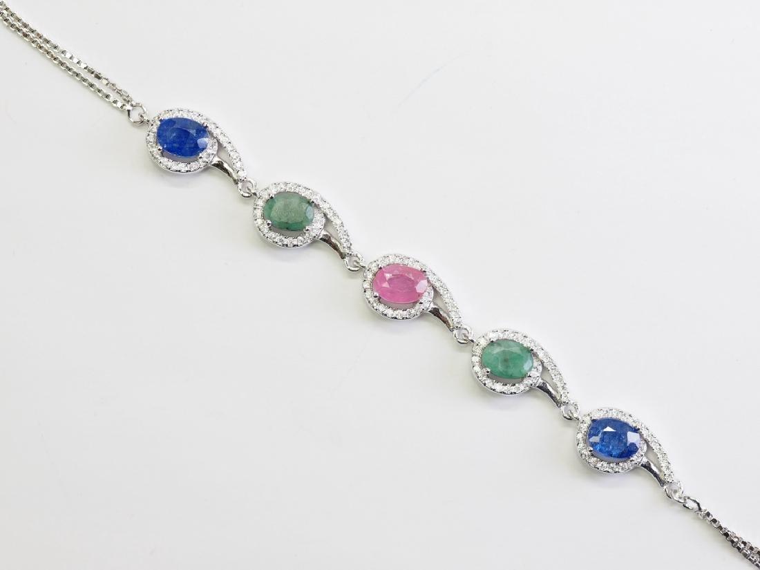 S.S. Genuine Ruby Sapphire Emerald & CZ Bracelet - 2