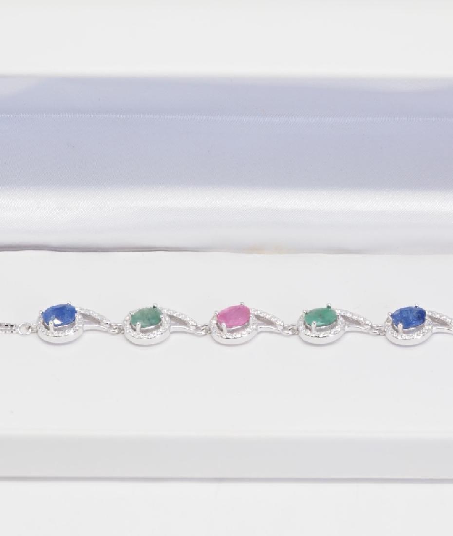 S.S. Genuine Ruby Sapphire Emerald & CZ Bracelet - 3