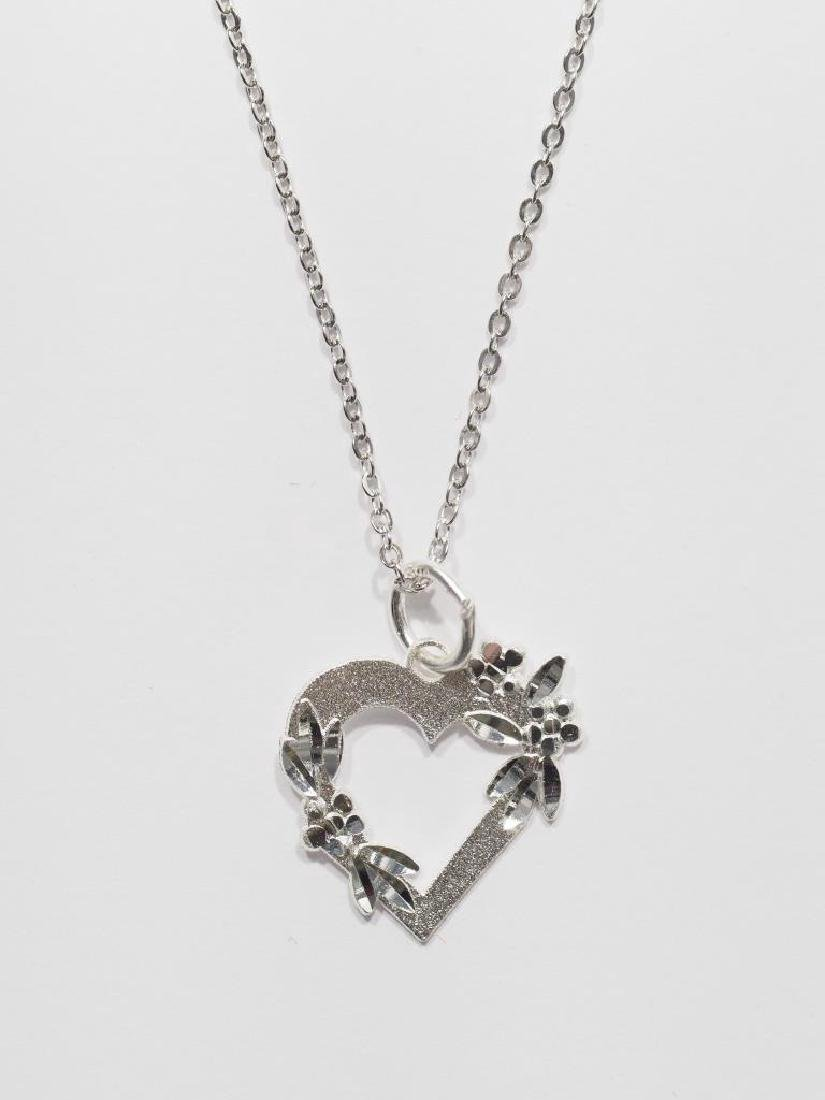 Sterling Silver Heart Shaped Pendant Necklace - 2