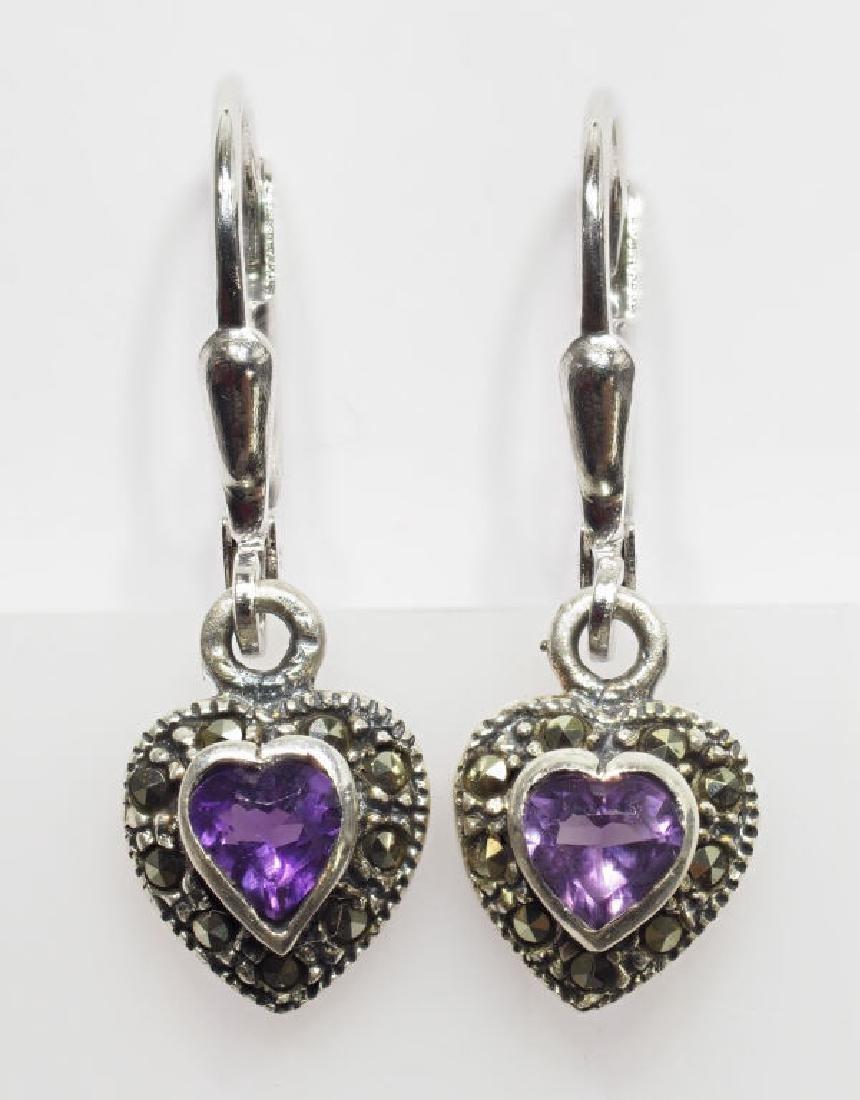 S.S.  Amethyst Marcasite Heart Shaped Earrings