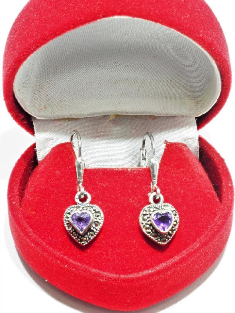 S.S.  Amethyst Marcasite Heart Shaped Earrings - 2