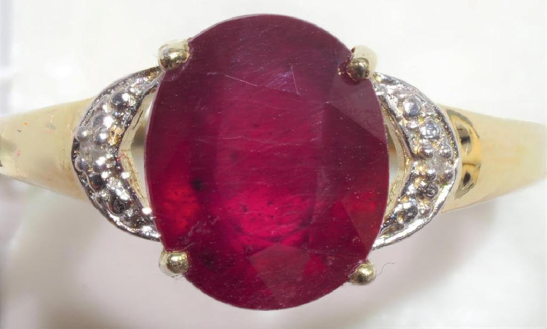 Sterling Silver Ruby With 2 Diamonds Ring