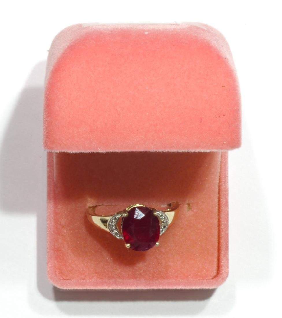 Sterling Silver Ruby With 2 Diamonds Ring - 2