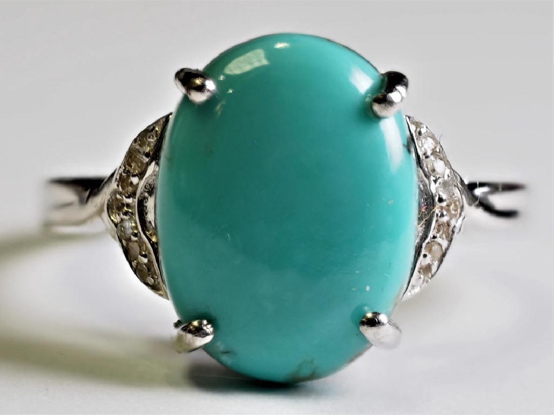 Sterling Silver Arizona Turquoise & Diamonds Ring