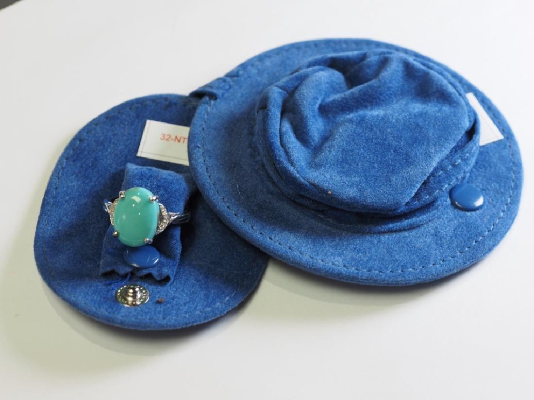 Sterling Silver Arizona Turquoise & Diamonds Ring - 2
