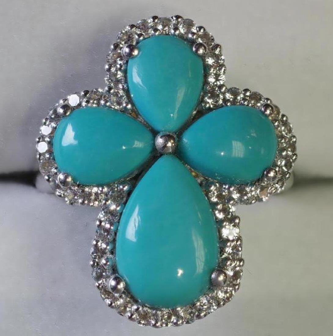 S. S.  Arizona Turquoise & White Topaz Ring