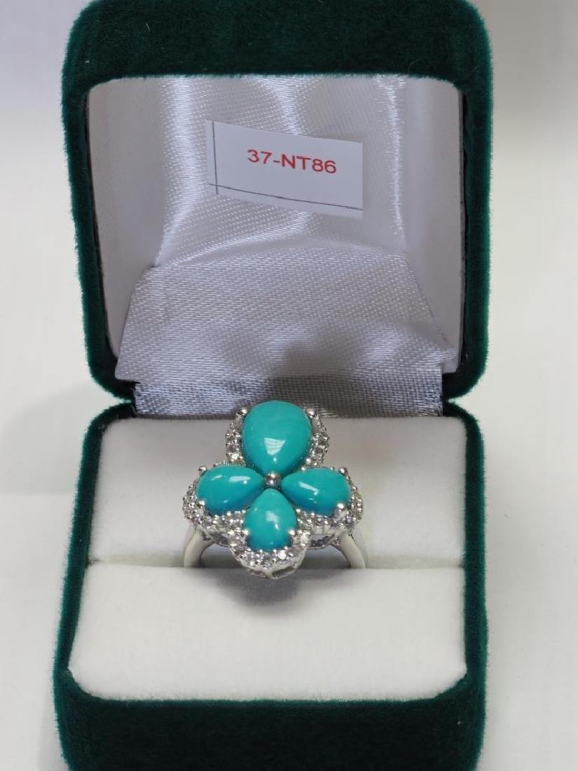 S. S.  Arizona Turquoise & White Topaz Ring - 2