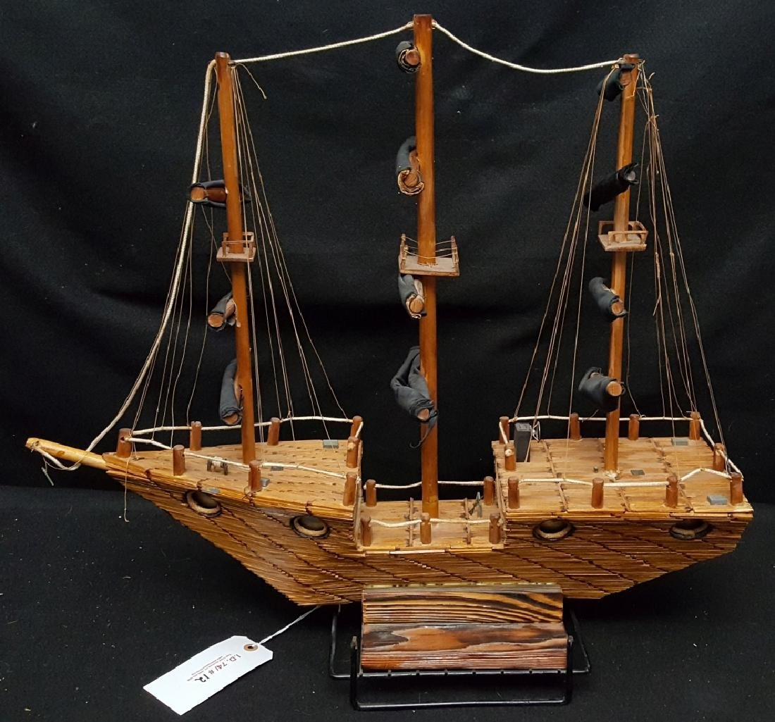 Large American Folk Art Match Stick Ship