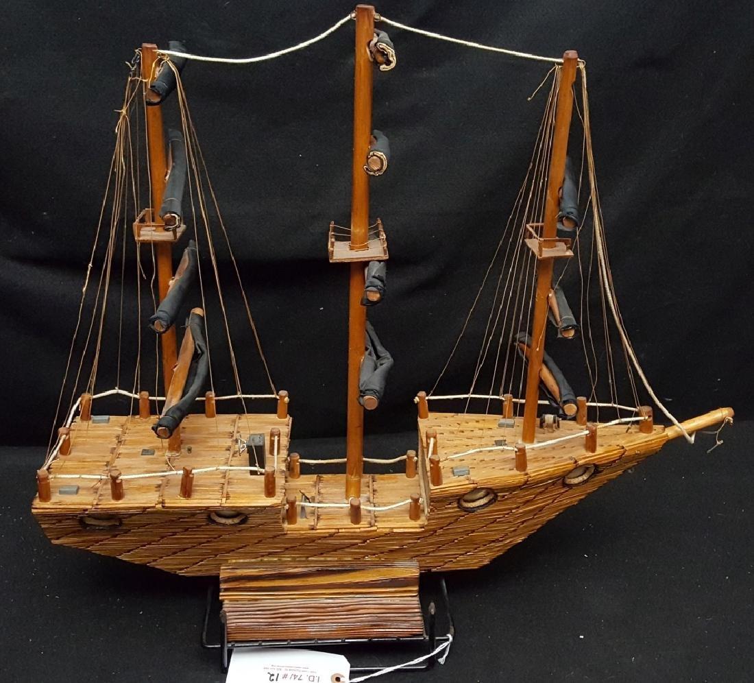 Large American Folk Art Match Stick Ship - 3