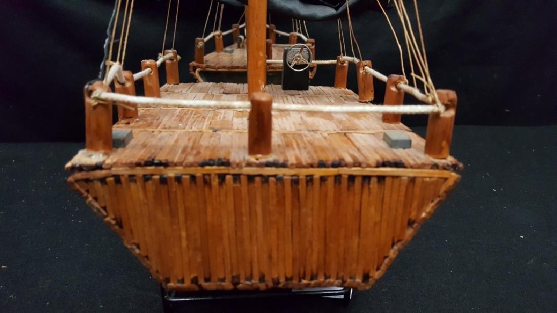 Large American Folk Art Match Stick Ship - 5