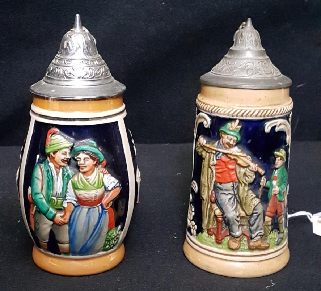German Beer Steins with Tops