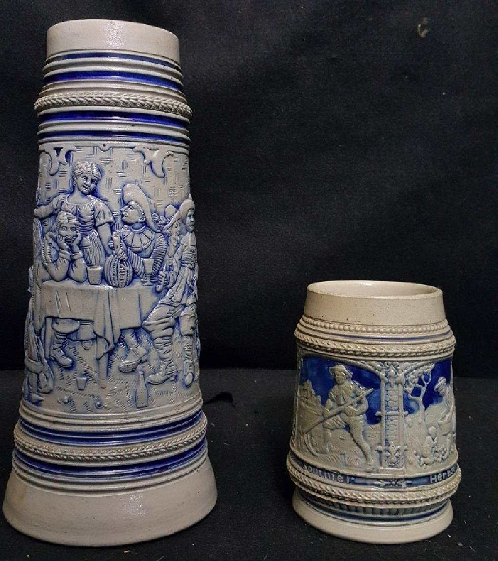 Cobalt German Four Seasons Beer stein & Der Trunk