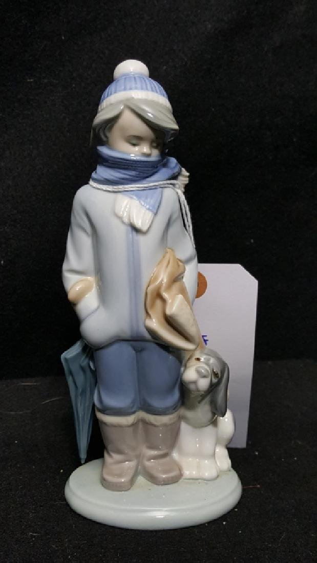 "Lladro #5220 ""Winter"" Boy With Dog & Umbrella"
