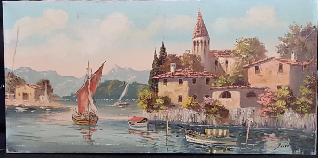 Berte' Oil on Canvas of a Waterside Villa