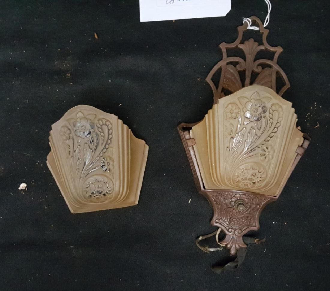 Vintage Bronze Sconce with Original Glass