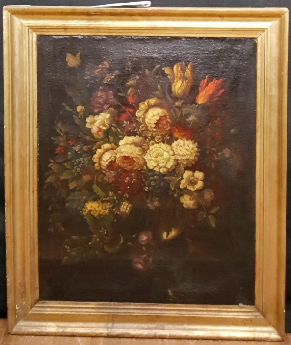 Early (18th C?) Oil on Canvas Still Life Flowers