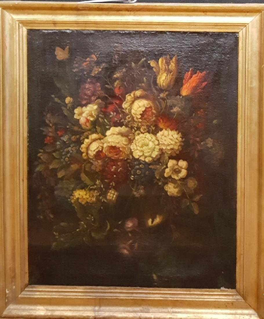 Early (18th C?) Oil on Canvas Still Life Flowers - 2