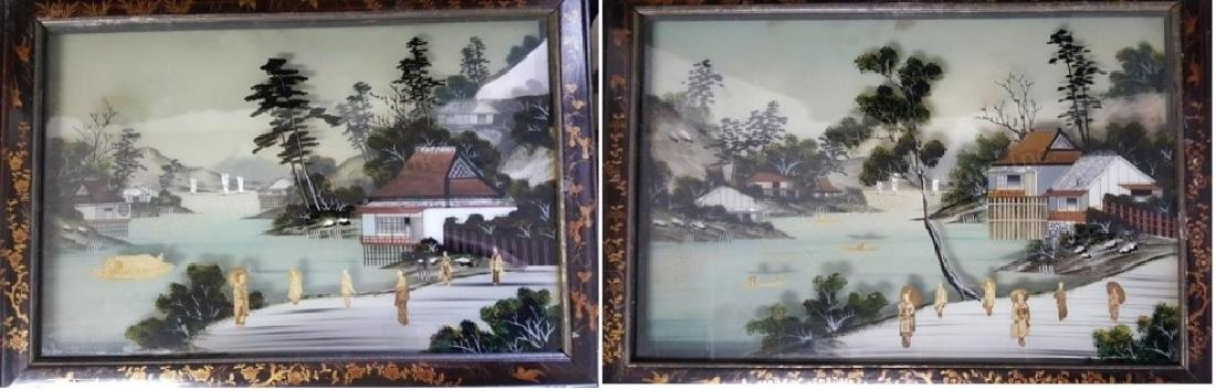 A pair of unusual Chinese Shadow Box Frames