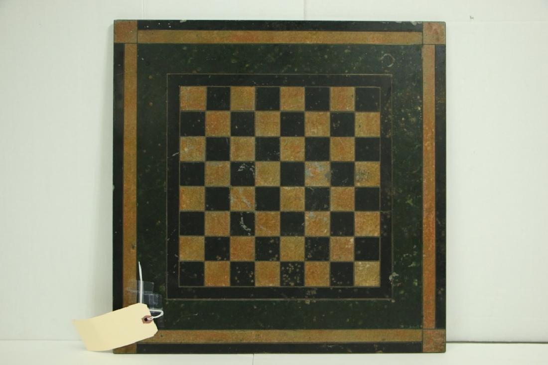 Antique Victorian Slate Chess / Checker Board