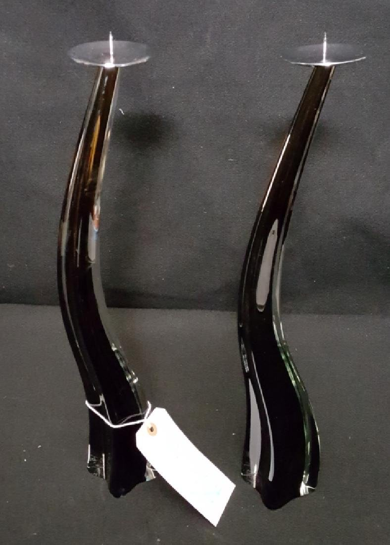 Pair - Murano Glass Candlesticks by Giuliano Tosi