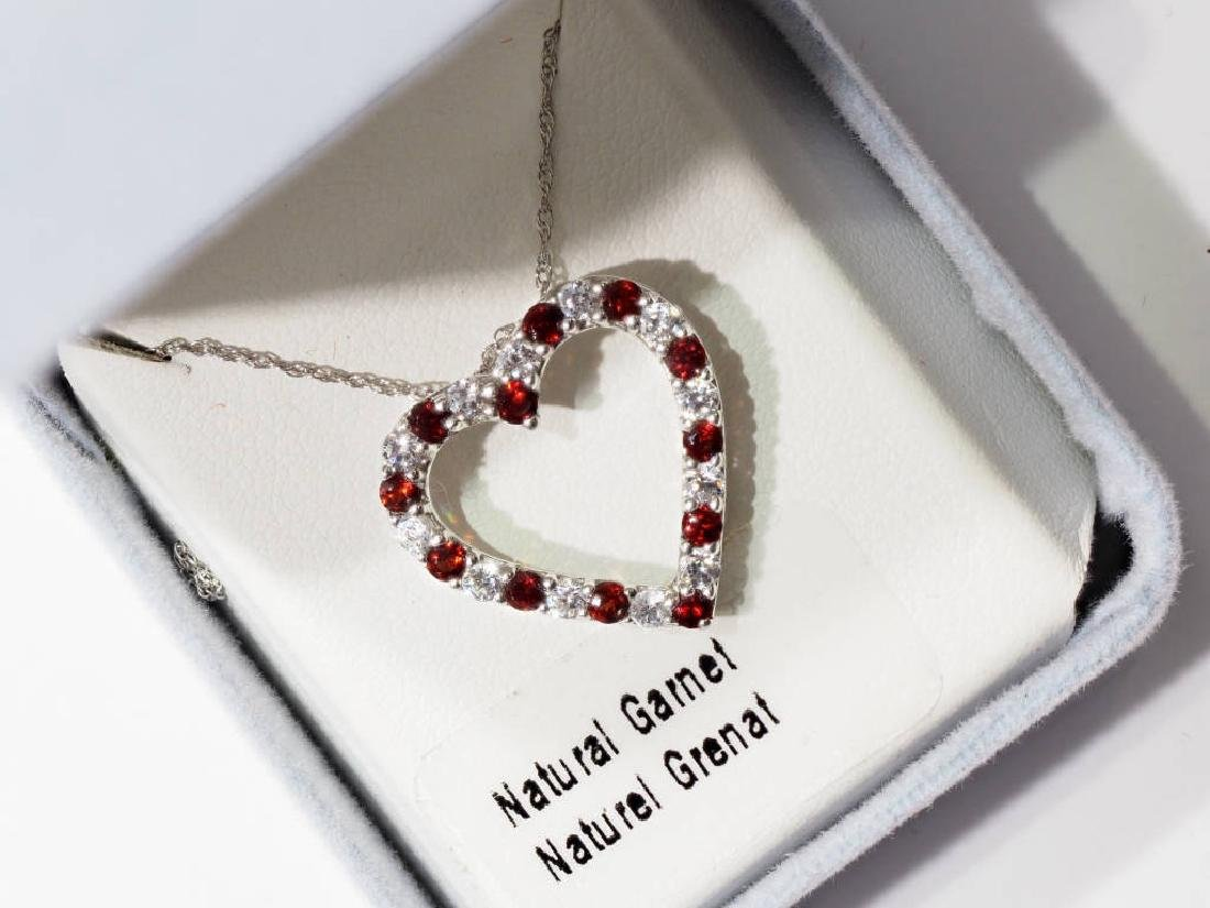 Sterling Silver & Garnet Heart Shaped Necklace