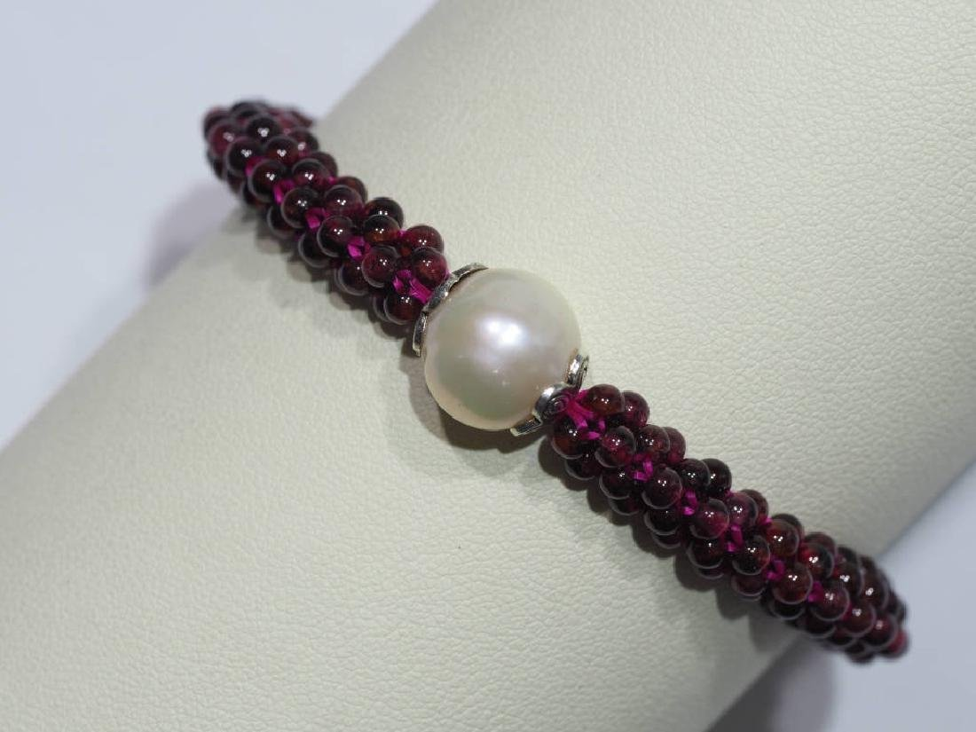 Garnet and Cultured Pearl Flexible Size Bracelet