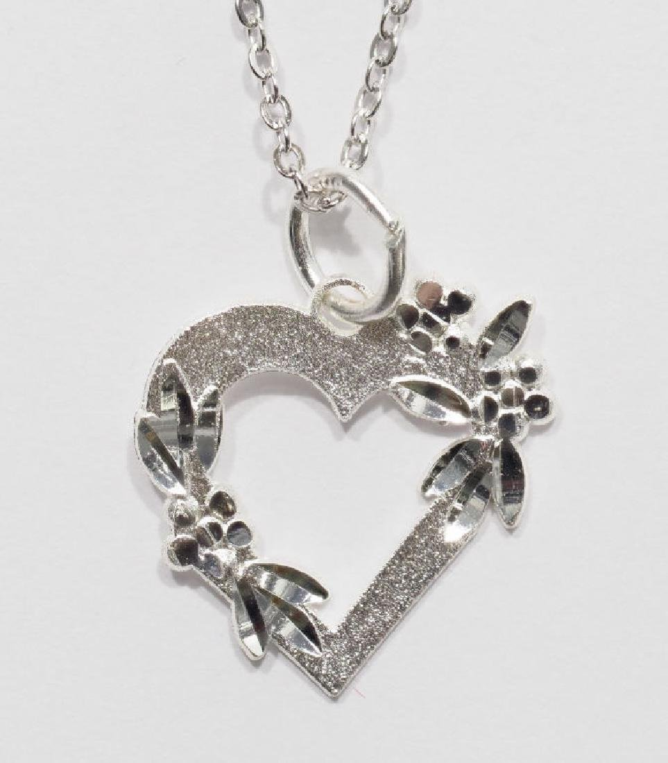 47-ls13 Sterling Silver Heart Shaped Pendant