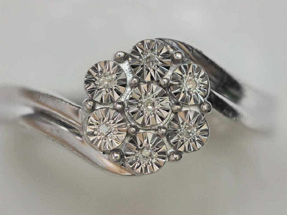 7 Diamonds Sterling Silver Ring