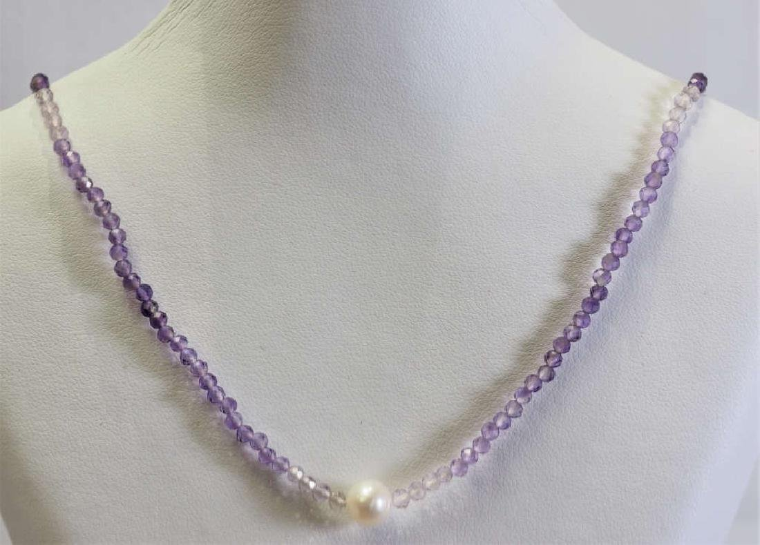 S. S.  Amethyst & Freshwater Pearl Drop Necklace