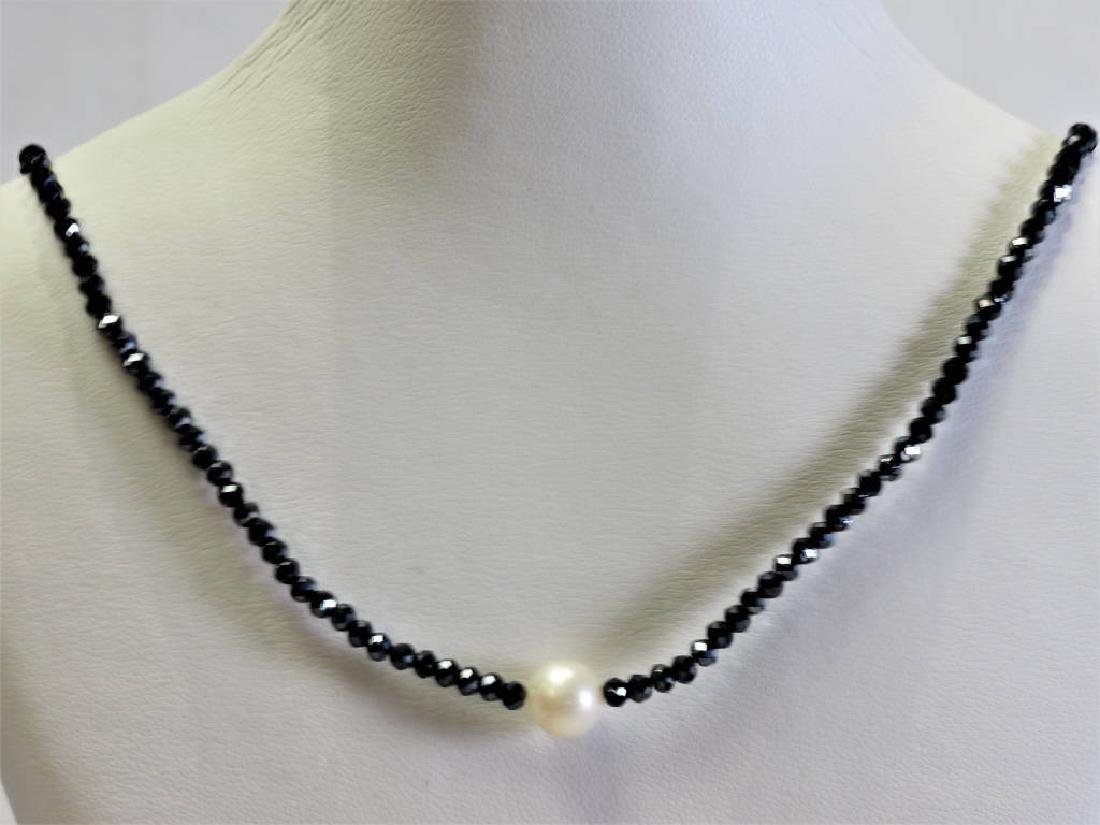 S. S. Spinel & Freshwater Pearl Drop Necklace