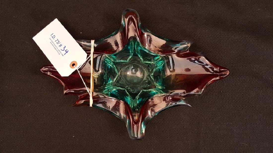 Modern Murano Blue & Red Cand Dish