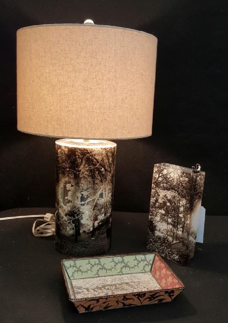 A Modern Fringe Studio Table Set W/ Lamp, Vase, Di