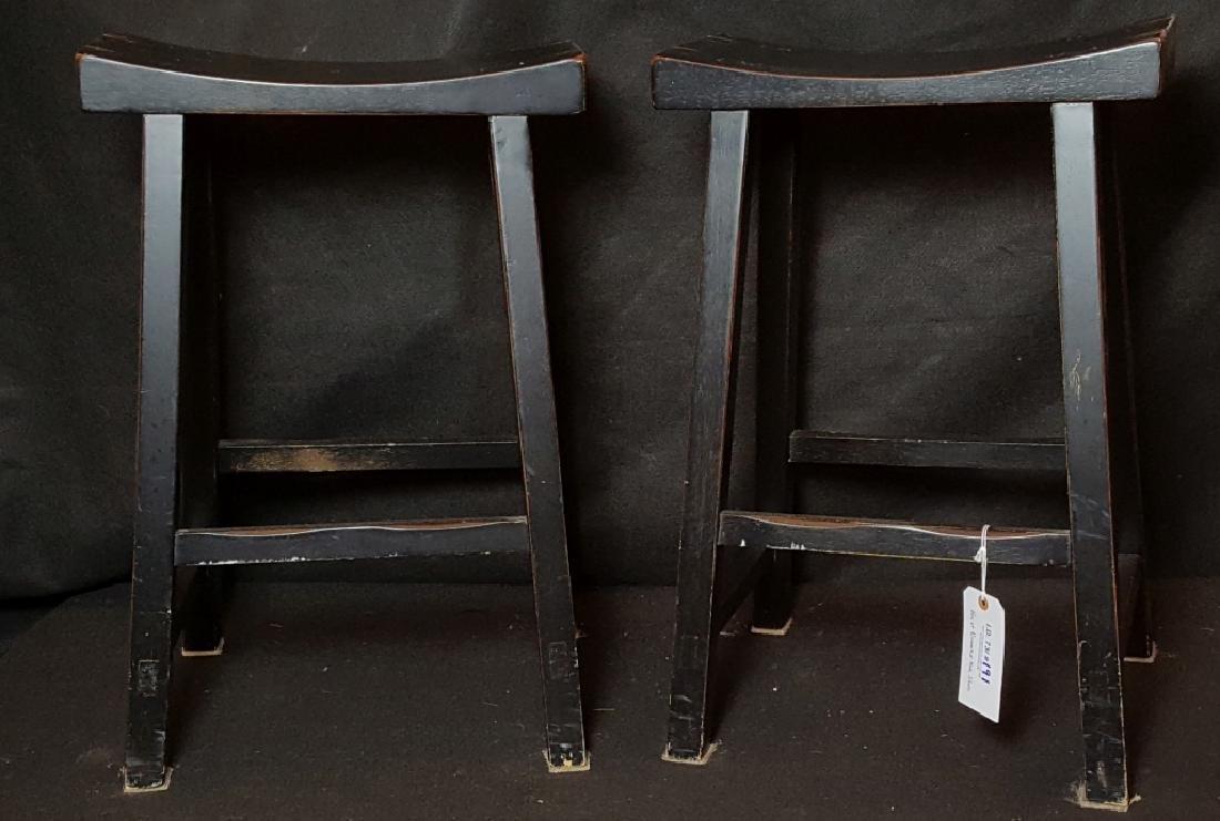 Pair of Pottery Barn Dark Wooden Bar Stools