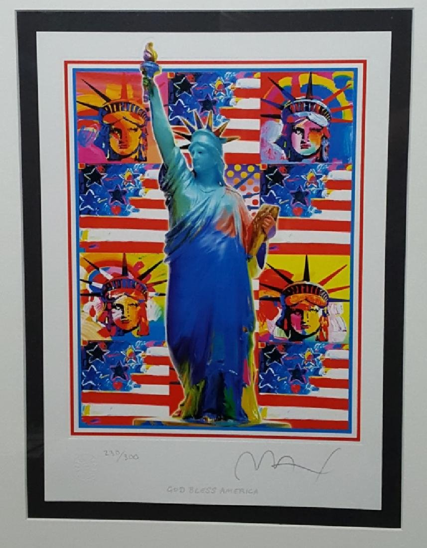 "Peter Max ""God Bless  America"" Signed Lithograph"