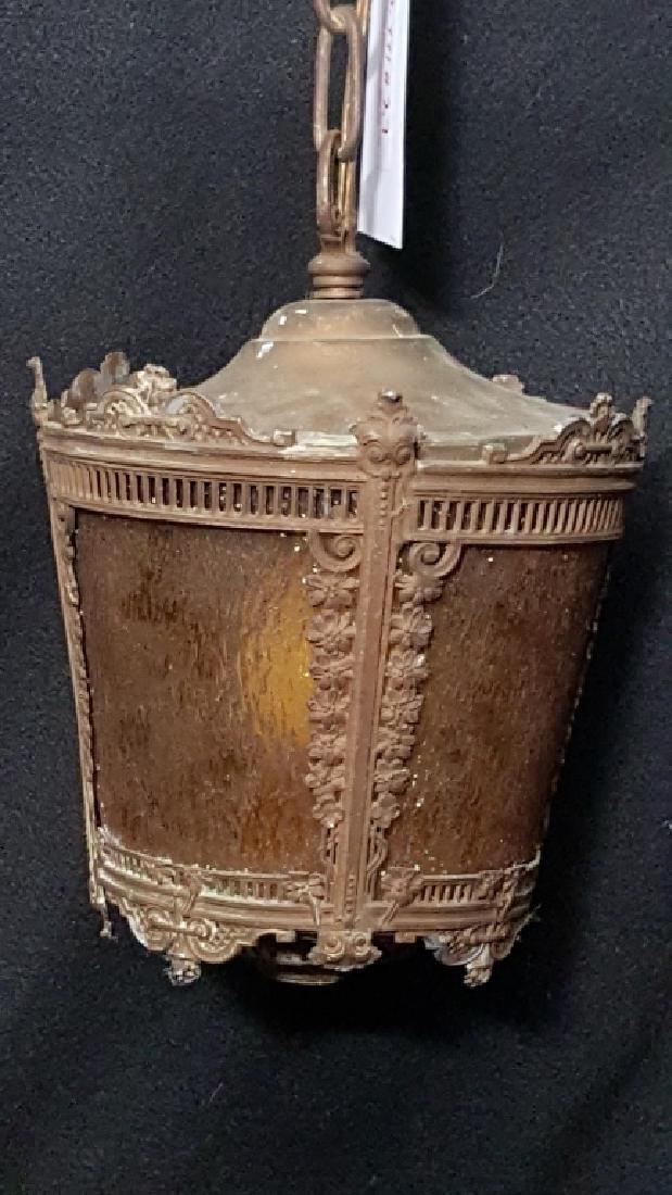 Tiffany Style Amber Glass Iron Lantern - 2