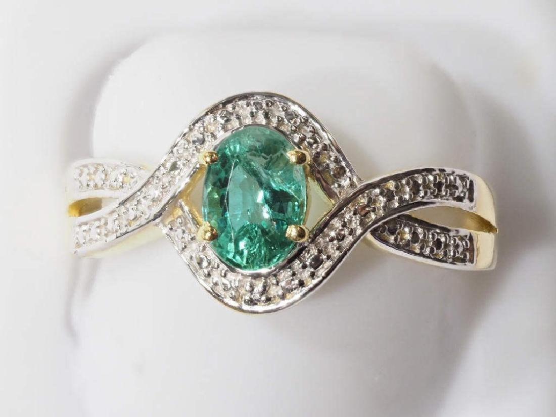 Emerald Sterling Silver Gold Plated Ring