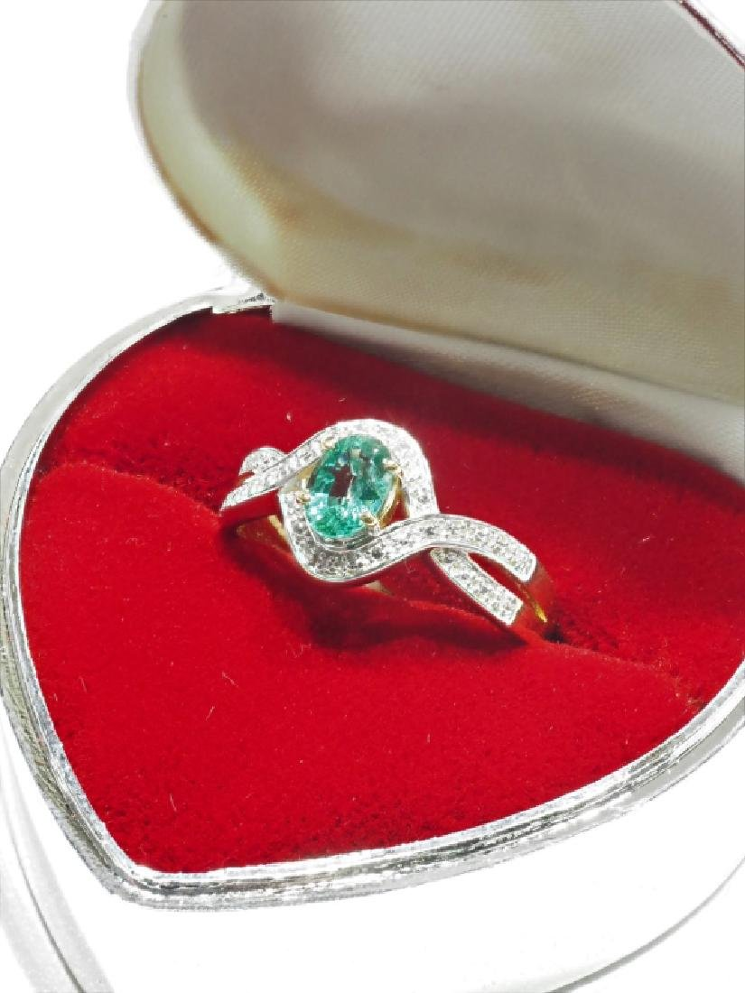Emerald Sterling Silver Gold Plated Ring - 2