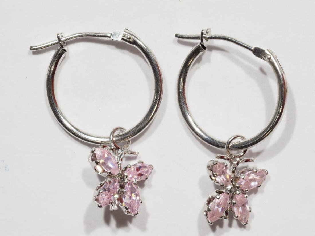 14kt Gold Hoop Pink CZ Butterfly Earrings