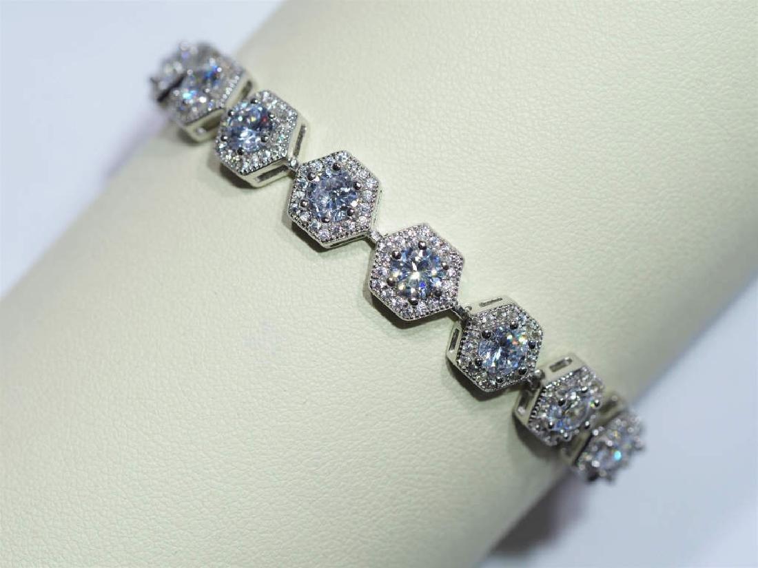 Heavy Sterling Silver Cubic Zirconia Bracelet