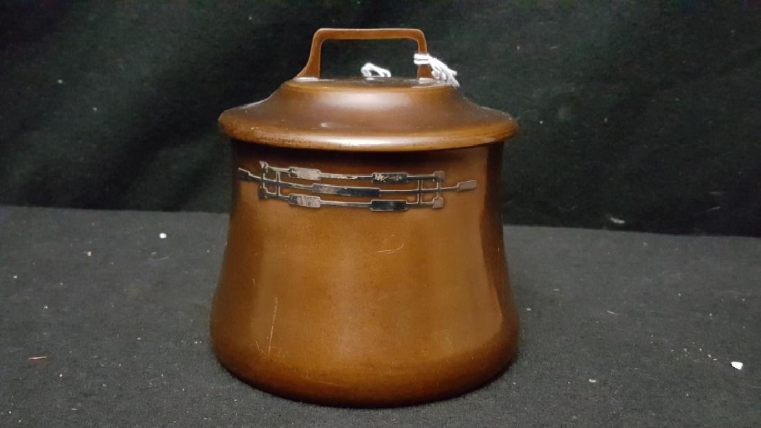 Mid Century Modern Sterling on Bronze Tobacco Jar
