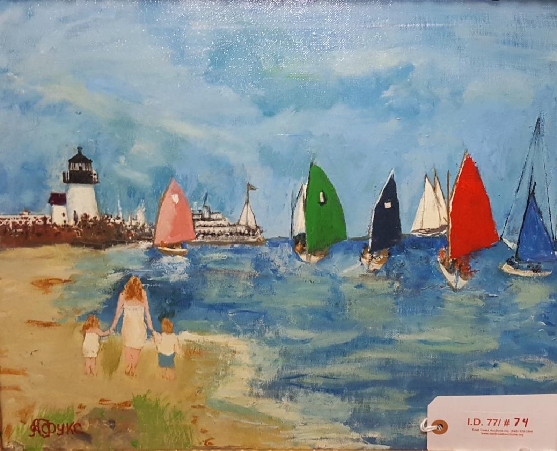 Oil on Canvas Lighthouse Scene
